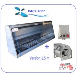 Pack 400° Hotte de 2 m à 3 m + Moteur + Variateur