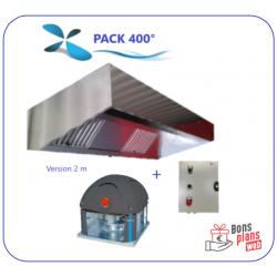 Pack 400° Hotte de 2m à 3 m + Tourelle + Variateur