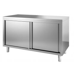 Table/Armoire inox avec portes coulissantes et...