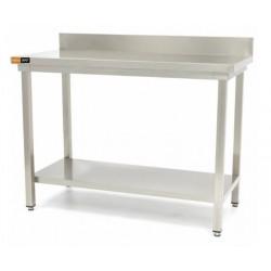 Table inox dosseret + étagère L1400xP600