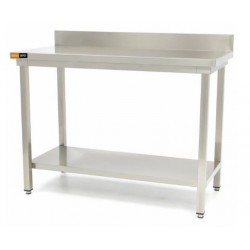 Table inox dosseret + étagère L800xP700